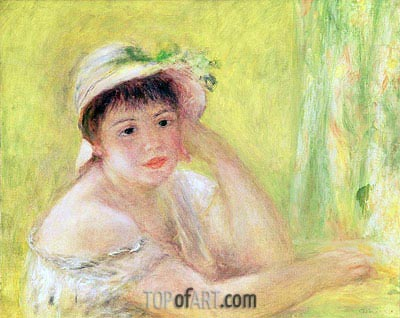 Woman with a Straw Hat (Alpphonsine Fournaise), c.1879/80 | Renoir | Gemälde Reproduktion