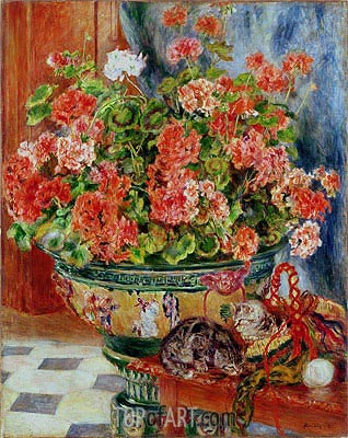 Geraniums and Cats, 1881 | Renoir | Painting Reproduction