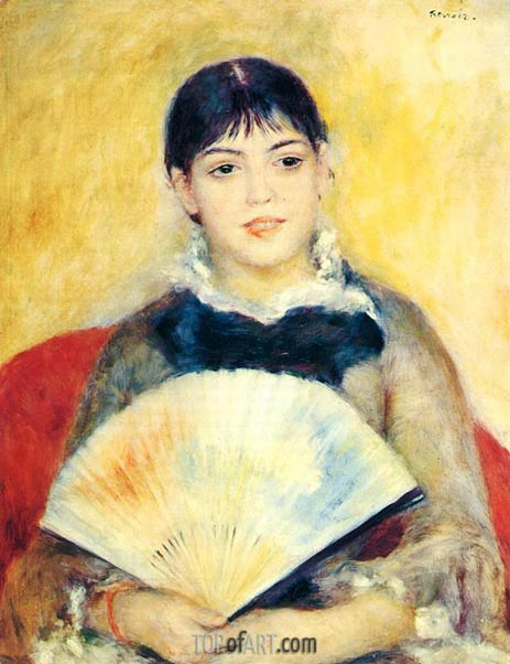 Girl with a Fan, 1881 | Renoir| Gemälde Reproduktion