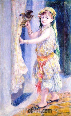 Young Girl with Falcon, 1880 | Renoir | Painting Reproduction