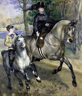Riding in the Bois de Boulogne (Madame Darras), 1873 | Renoir | Painting Reproduction