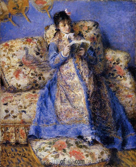 Camille Monet Reading, 1872 | Renoir | Painting Reproduction