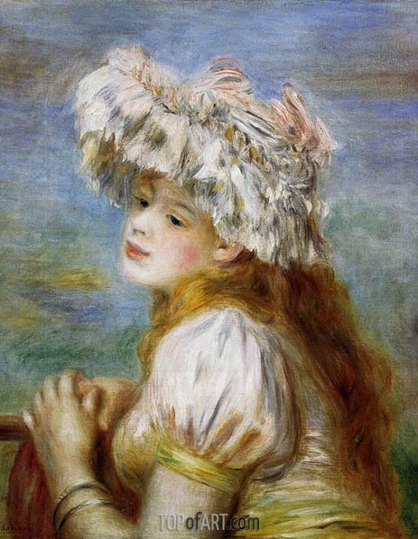 Young Girl in a Lace Hat, 1891 | Renoir | Painting Reproduction