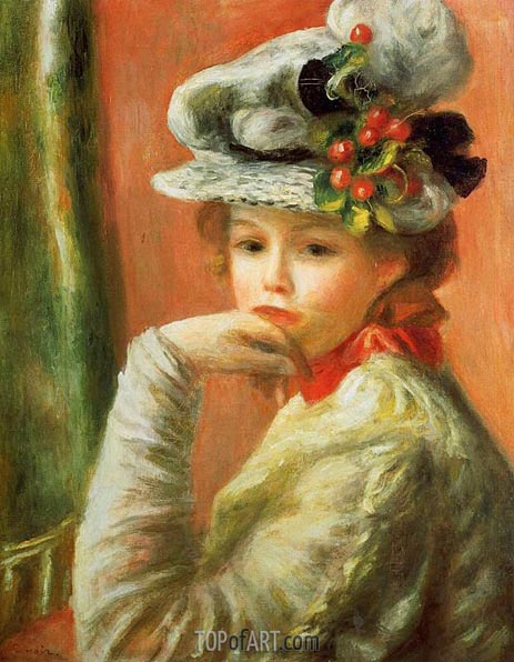 Young Girl in a White Hat, 1891 | Renoir | Gemälde Reproduktion