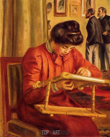 Christine Lerolle Embroidering, 1897 | Renoir| Painting Reproduction