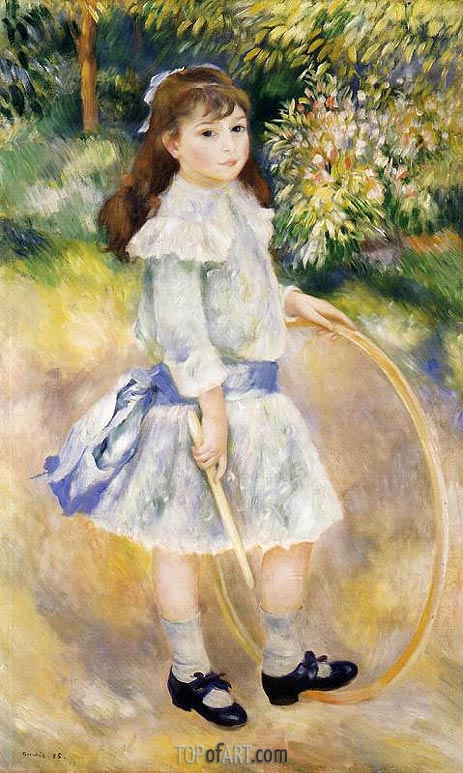 Girl with a Hoop, 1885 | Renoir| Painting Reproduction