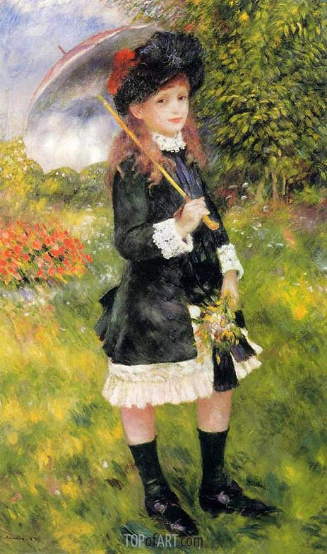 Girl with a Parasol (Aline Nunes), 1883 | Renoir | Painting Reproduction