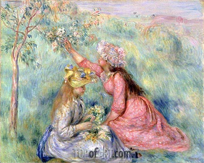 Girls Picking Flowers in a Meadow, c.1890 | Renoir | Gemälde Reproduktion