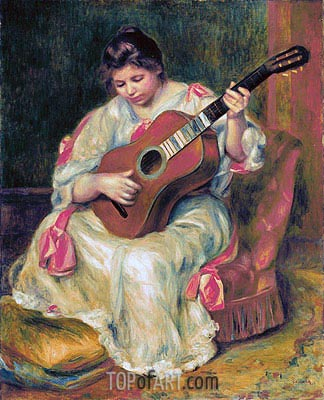 Woman Playing the Guitar, c.1896/97 | Renoir | Painting Reproduction