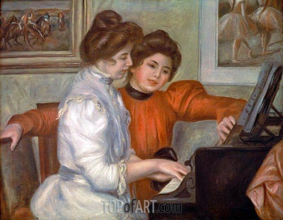 Yvonne and Christine Lerolle at the Piano, 1897 | Renoir| Painting Reproduction