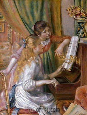Young Girls at the Piano, 1892 | Renoir| Painting Reproduction