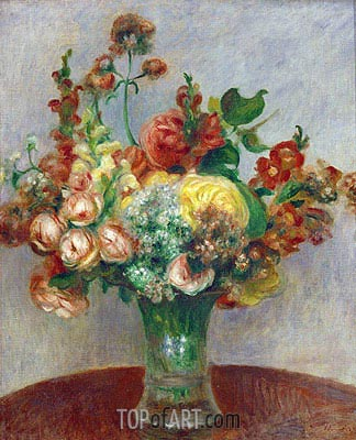 Flowers in a Vase, c.1898 | Renoir | Painting Reproduction