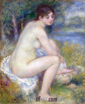 Female Nude in a Landscape (Seated Bather), 1883 | Renoir | Gemälde Reproduktion