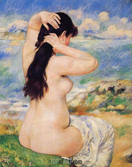 Bather Arranging Her Hair (Nude Fixing Her Hair), 1885 | Renoir | Painting Reproduction