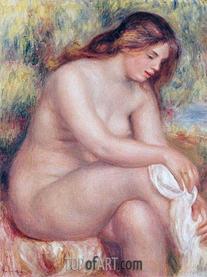 Bather Drying her Leg, c.1910 | Renoir | Gemälde Reproduktion