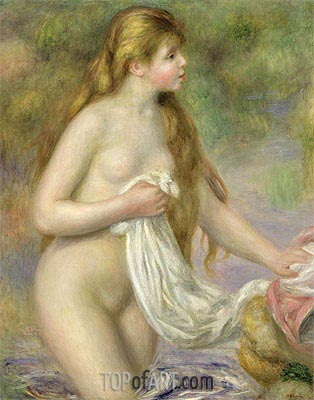 Long-haired Bather, c.1895 | Renoir| Painting Reproduction