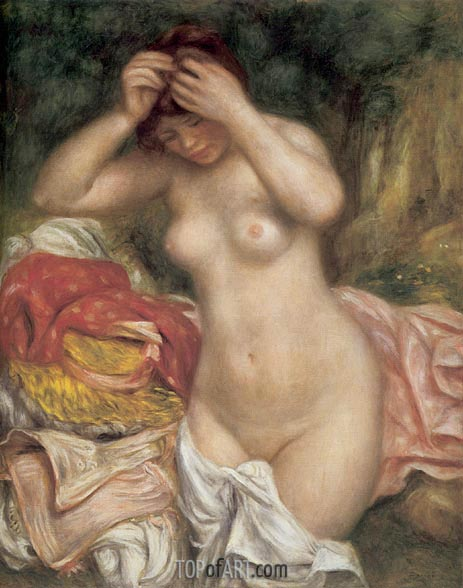 Bather Arranging her Hair, 1893 | Renoir| Gemälde Reproduktion