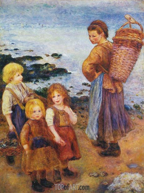 Mussel Fishers at Berneval, 1879 | Renoir| Painting Reproduction
