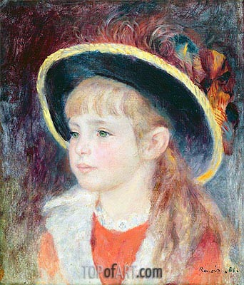 Jeanne Henriot (Girl in a Blue Hat), 1881 | Renoir| Painting Reproduction