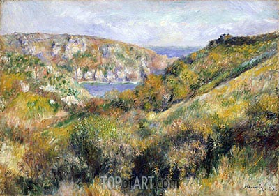 Hills around the Bay of Moulin Huet, Guernsey, 1883 | Renoir | Painting Reproduction