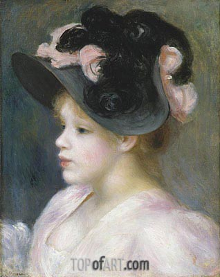 Young Girl in a Pink and Black Hat, c.1890 | Renoir| Painting Reproduction