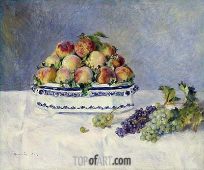 Still Life with Peaches and Grapes, 1881 | Renoir| Painting Reproduction