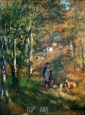 The Painter Lecoeur in the Woods of Fontainebleau, 1866 | Renoir | Painting Reproduction