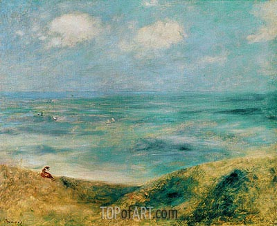 Seascape. Woman at the Seaside, c.1879/80 | Renoir | Painting Reproduction