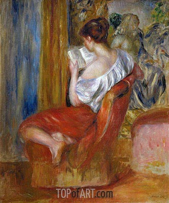 Woman Reading, c.1900 | Renoir| Gemälde Reproduktion