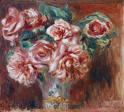 Roses in a Vase, 1910 | Renoir| Painting Reproduction