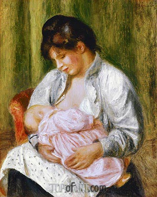 A Woman Nursing a Child, c.1894 | Renoir | Painting Reproduction
