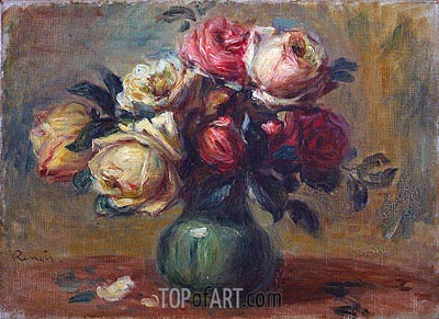Roses in a Vase, c.1890 | Renoir| Painting Reproduction