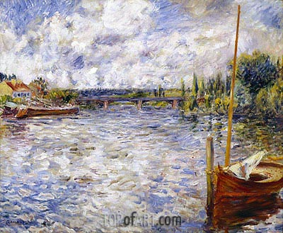 The Seine at Chatou, 1874 | Renoir | Painting Reproduction