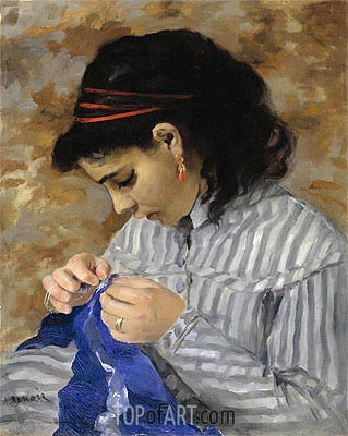 Lise Sewing, 1866 | Renoir| Painting Reproduction
