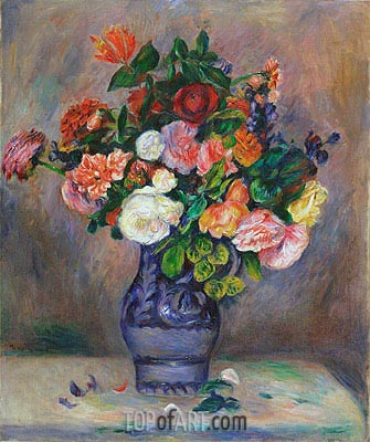 Flowers in a Vase, c.1880 | Renoir | Painting Reproduction