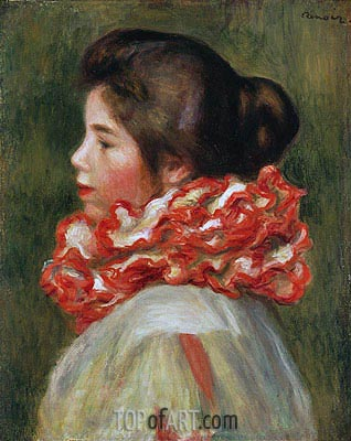 Girl in a Red Ruff, 1884 | Renoir | Painting Reproduction