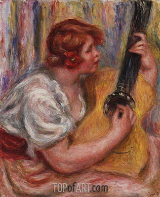 Woman with a Guitar, c.1918 | Renoir | Gemälde Reproduktion