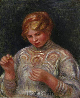 Girl Tatting, c.1906/08 | Renoir| Painting Reproduction