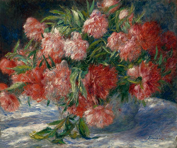 Peonies in a Vase, c.1880 | Renoir | Painting Reproduction