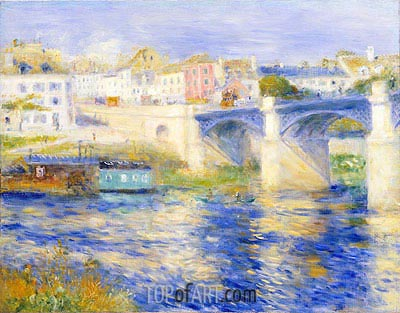 Argenteuil Bridge (Bridge at Chatou), c.1875 | Renoir| Gemälde Reproduktion