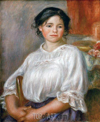 Young Girl Sitting (Helene Bellon), c.1909 | Renoir | Painting Reproduction