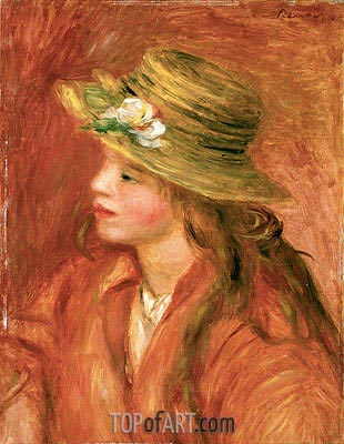Young Girl in a Straw Hat, c.1908 | Renoir| Gemälde Reproduktion
