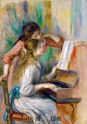 Young Girls at the Piano, c.1890 | Renoir| Gemälde Reproduktion