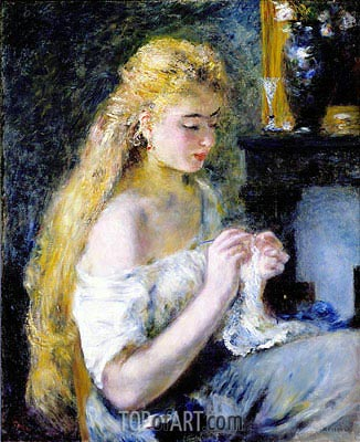 A Girl Crocheting, c.1875 | Renoir| Painting Reproduction