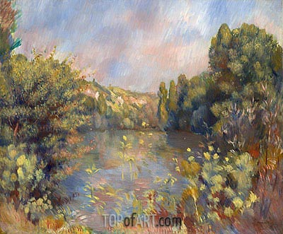 Lakeside Landscape, c.1889 | Renoir | Painting Reproduction