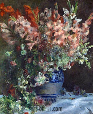 Gladioli in a Vase, c.1874/75 | Renoir | Painting Reproduction