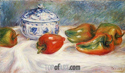 Still Life with a Blue Sugar Bowl and Peppers, c.1905 | Renoir | Painting Reproduction
