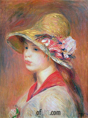 Young Woman in a Hat, undated | Renoir | Painting Reproduction