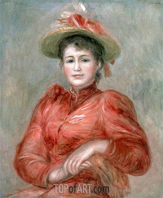 Young Woman in Red Dress, c.1892 | Renoir | Painting Reproduction