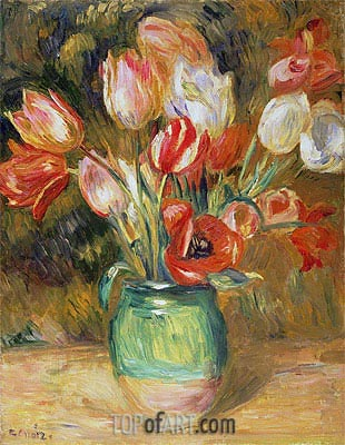 Tulips in a Vase, undated | Renoir | Painting Reproduction